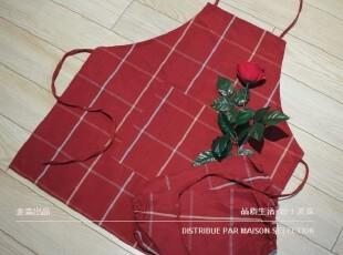 NEW!Evert 大格子 围裙 65x70 含袖套 全棉 辣椒红烹饪配件,围裙,