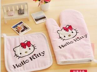 hello kitty外贸微波炉烤箱专用防烫加厚隔热手套+隔热垫 两件套,围裙,