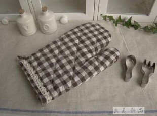 日单尾货 咖色条格子棉麻隔热手套,围裙,