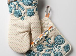【纽约下城公园】彩色泡泡和奇异花朵微波炉隔热手套隔热垫组合,围裙,