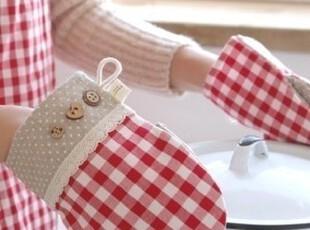 韩国代购/精美红色格子防烫手套 /厨房隔热手套/微波炉手套 防烫,围裙,