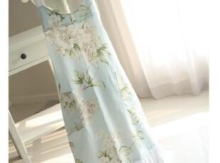 【韩国进口家居】A722 舒雅淡蓝色大花朵漂亮围裙,围裙,