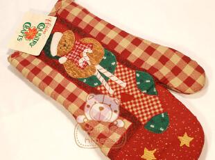 [冰城美食]微波炉烤箱 隔热手套 右手【红格小熊圣诞袜】,围裙,