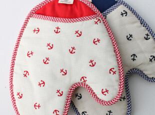 海滨标特色格纹韩式微波炉隔热手套 烘箱隔热手套,围裙,