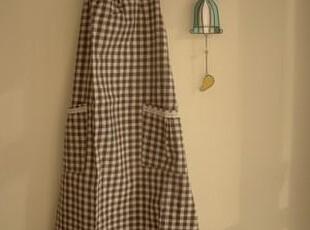 日单尾货 咖色条格棉麻长身系带围裙,围裙,