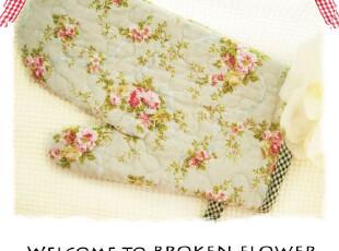 美丽说推荐绗缝可爱绣花绿田园布艺微波炉手套隔热手套,围裙,