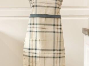 韩版可爱 厨房 咖啡厅围腰 格子围裙工作服时尚美容围裙 (2色),围裙,