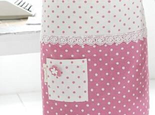 『韩国进口家居』B578 清新点点小花精致花边厨房围裙 四色可选,围裙,