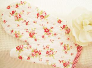 热销手工绗缝红小花田园布艺微波炉手套隔热手套,围裙,
