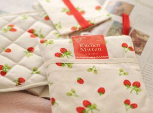 日本原单kitchen 草莓三件套 杯垫 隔热手套 纸巾包,围裙,