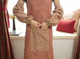 美式田园/乡村 围裙 65x70 含袖套 灰红色烹饪配件,围裙,