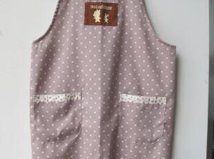 外贸日单 咖啡涤棉平纹圆点印花布-口袋红小花贴条-H型围裙,围裙,