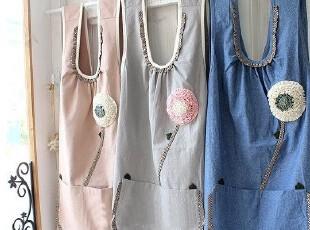 韩国进口代购/精美玫瑰花朵彩色围裙/居家围裙/厨房围裙【3色入】,围裙,