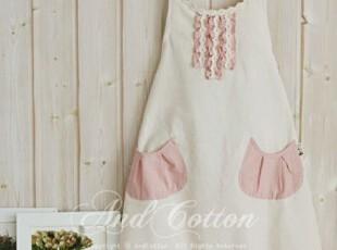 ㊣U-DAY韩国代购-KI㊣家居进口萝莉可爱荷叶边拼接三色围裙,围裙,