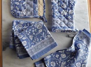 【纽约下城公园】地中海蓝色花香厨房织物 围裙/手套/隔热垫/多用,围裙,