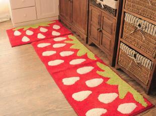 韩版可爱草莓地毯 卡通门垫床边毯 防滑垫 厨房垫两件套地垫,地毯,
