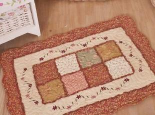 纯棉生活田园橘黄刺锈绗缝拼布进门地垫 门垫 脚垫 物品垫,地毯,