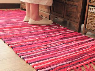 ROBO宜家风格 外贸透气纯棉条地垫 手工编织吸水抗污厨房卧室地,地毯,