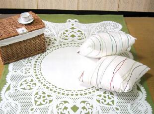 復古懷舊綠色底白蕾絲印花掛墙麻掛毯 Race/ 地毯,地毯,