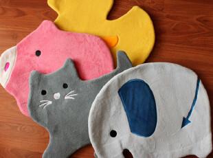 日本尾单 优质卡通毛绒 鸭子 猫咪大象小猪居家 动物地垫地毯,地毯,