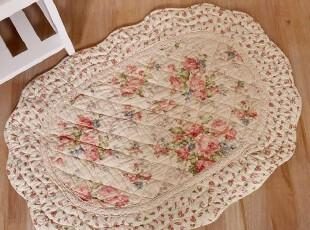 全棉田园绗缝布艺地垫 门垫 外贸进门垫 防滑垫子 地毯 脚垫70*50,地毯,