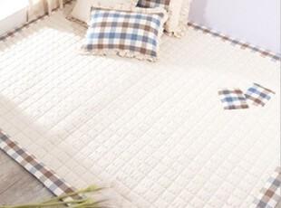 韩国 坯布棉 绗线客厅卧室用素色格子 包边棉地垫150*200,地毯,