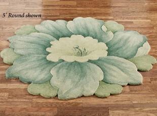 【纽约下城公园】 奇异蓝色花朵圆形小地毯 1.2米直径,地毯,