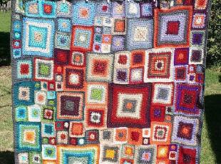 DIY手工钩织拼花地垫,地毯,