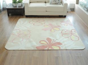粉黄花卉地毯 卧室 茶几地毯 简约现代风格 可机洗不掉色不掉毛,地毯,