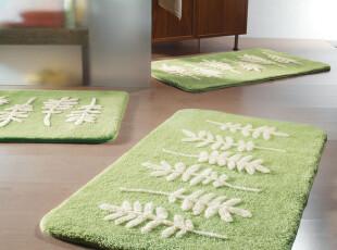 欧洲品牌SPIRELLA Botanic绿色底白叶子高档浴室吸水防滑地垫,地毯,