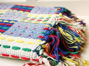 【最新日本订单,绝好品质】罗依兹密织方格大号纯棉地毯 0194,地毯,