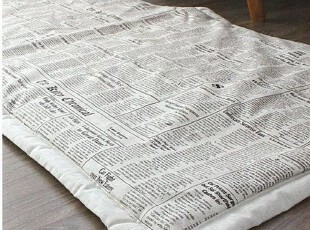 ㊣U-DAY韩国代购-HM㊣宜家个性复古黑白版报纸地毯,地毯,