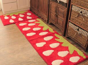 ROBO超可爱 浪漫草莓女生卧室两件套地垫 床边毯 厨房家居风地毯,地毯,