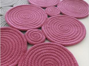 韩国代购进口创意100%纯棉编织螺旋圆圈/客厅门厅地垫/拖鞋垫脚垫,地毯,