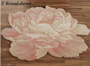 美国家居 富贵牡丹圆形纯羊毛小地毯直径90厘米,地毯,