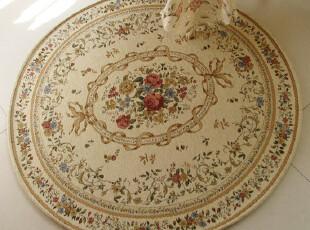 精品特价 韩式田园脚垫电脑椅圆形地毯 棉加丝防滑花朵地垫90cm,地毯,
