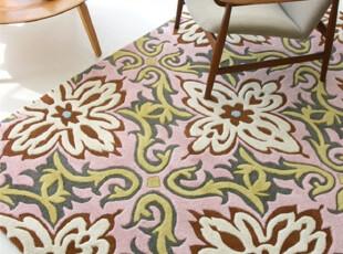 【纽约下城公园】寺庙里的花朵羊毛地毯(2x3,5x7.6),地毯,