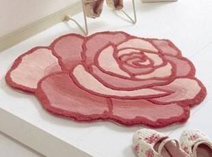 昕喜美品牌 玫瑰花造型地毯门毯电脑椅毯(两色入)90CM直径,地毯,
