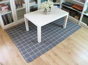 特价 全棉手工编织纯棉多功能地毯/地垫/玄关垫 灰色格纹,地毯,