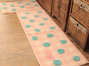 ROBO超柔纤维 公主卧室 床边可爱卡通绒面地垫两件套 女生波点控,地毯,