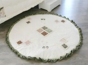 韩国代购 碎花拼布补丁圆形大地垫/绿色木耳边坐垫 地毯,地毯,