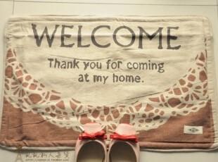 zakka森林系 棉麻布艺 欢迎地垫 垫脚垫 防滑垫 小地毯 坐垫,地毯,