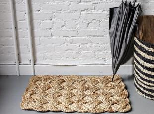 美国家居 返璞归真天然黄麻麻花辫地垫,地毯,