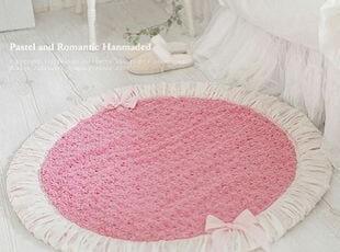 韩国正品代购 粉色玫瑰朵朵绒面圆形地垫/超可爱公主卧室地毯,地毯,