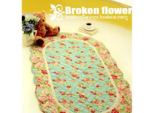 日式田园绗缝地垫浴室防滑垫门垫床前垫飘窗垫地毯蓝色椭圆90*150,地毯,