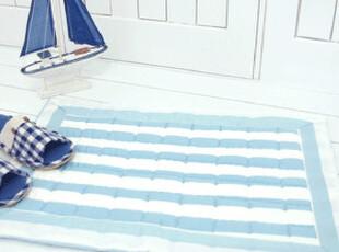 【韩国家居】地中海风格条纹 蓝色 地垫脚垫60*40,地毯,