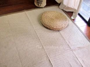 【素舍】日单和风华夫格包边全棉手工多用地垫 沙发巾 地毯,地毯,