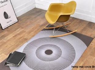 60年代/70年代復古北歐棕色底白花印麻掛毯/地毯(現貨),地毯,