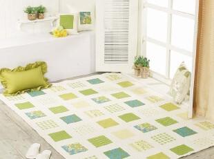 韩国棉质绗线客厅卧室用树叶图案棉地毯150*200c1-25,地毯,