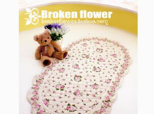日式田园绗缝地垫浴室防滑垫门垫床前垫飘窗垫地毯粉色枚朵90*150,地毯,
